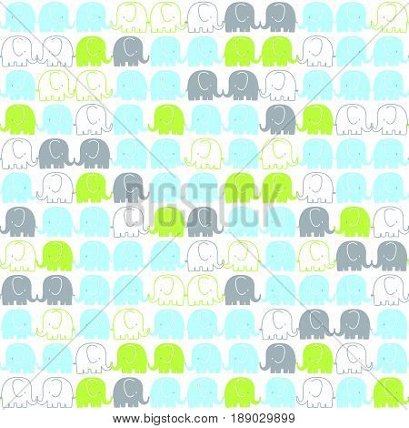cute elephants tileable pattern on white background