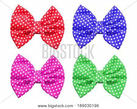 Bow with polka dot pattern isolated on white background