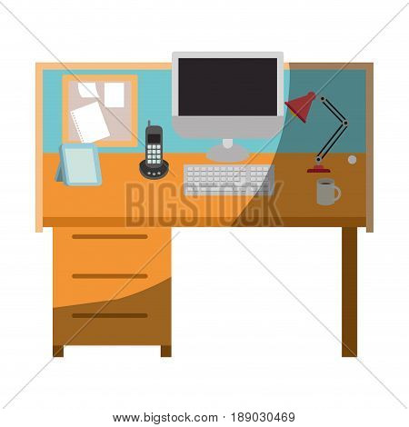 colorful graphic of workplace office interior without contour and half shadow vector illustration