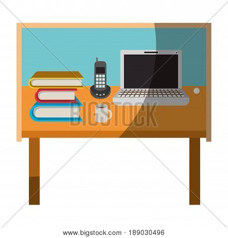 colorful graphic of desk home office basic without contour and half shadow vector illustration