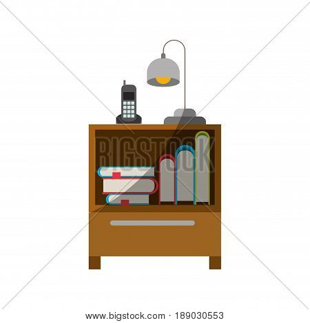 colorful graphic of nightstand with cordless phone and lamp and books collection without contour and half shadow vector illustration