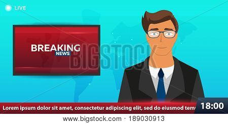 Mass Media Banner. Anchorman In Breaking News. Live. Television Studio. Tv Show.