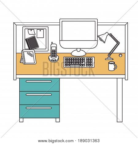 silhouette color sections of workplace office interior vector illustration