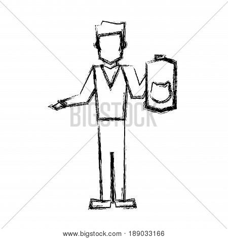 vet man with cat pet accessory sketch vector illustration