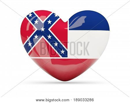 Flag Of Mississippi, Us State Heart Icon