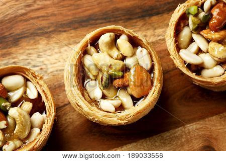 Close-up Of Sweet Nest Dessert With Nuts