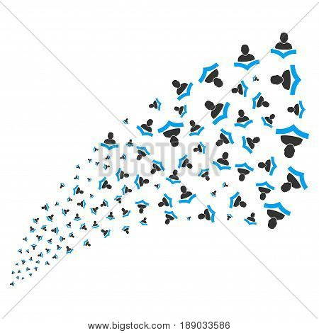Reader source stream. Vector illustration style is flat blue and gray iconic symbols on a white background. Object explosion fountain constructed from random symbols.