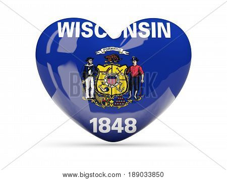 Flag Of Wisconsin, Us State Heart Icon