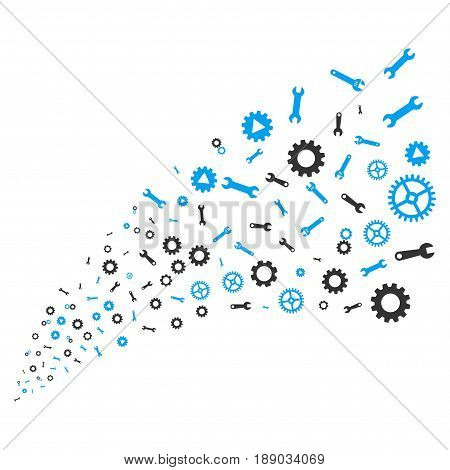 Setup Tools source stream. Vector illustration style is flat blue and gray iconic symbols on a white background. Object stream fountain constructed from random icons.