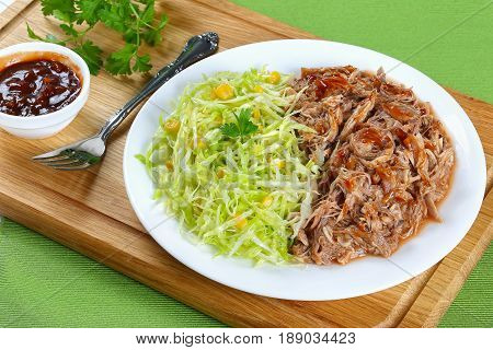 Pulled Meat With Fresh Coleslaw Salad