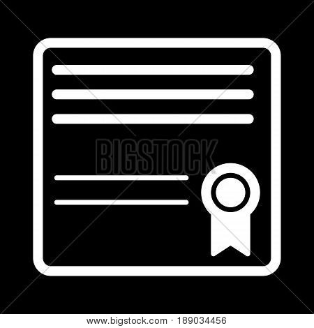 Diploma simple vector icon. Black and white illustration of diploma. Outline linear education icon. eps 10