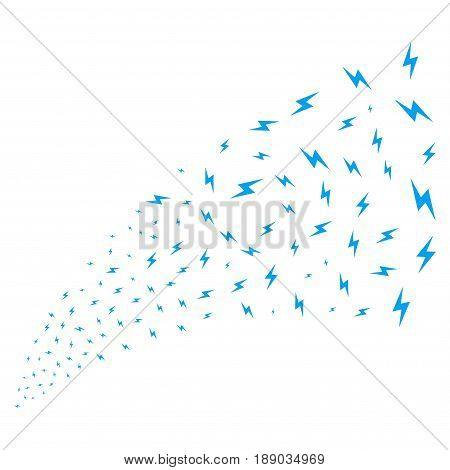 Electric Bolt source stream. Vector illustration style is flat blue iconic symbols on a white background. Object explosion fountain constructed from scattered symbols.