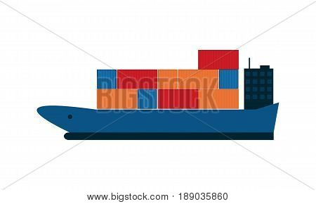 Global shipping icon with container ship. Worldwide delivery service vector illustration isolated on white background.