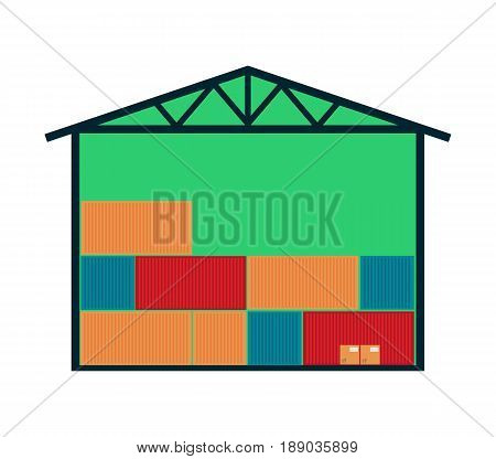 Delivery icon with warehouse building. Global or local shipping service vector illustration isolated on white background.