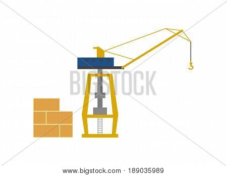 Global shipping icon with sea port crane and cargo containers. Worldwide delivery service vector illustration isolated on white background.