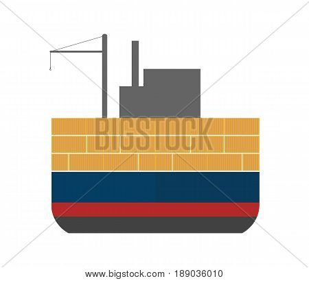 Sea freight icon with cargo ship. Global shipping, worldwide delivery service vector illustration isolated on white background.