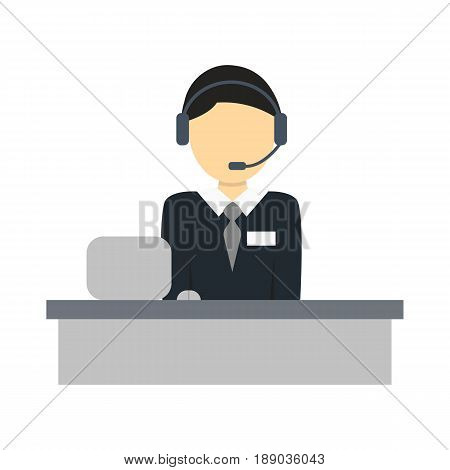 Services operator isolated icon. Technical support operator, business people vector illustration in flat design
