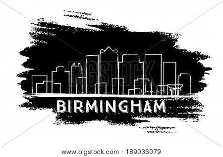 Birmingham Skyline Silhouette. Hand Drawn Sketch. Business Travel and Tourism Concept with Modern Architecture. Image for Presentation Banner Placard and Web Site.