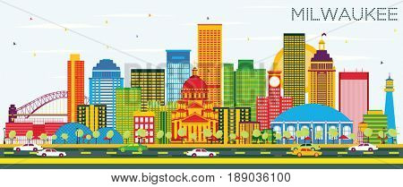 Milwaukee Skyline with Color Buildings and Blue Sky. Business Travel and Tourism Concept with Modern Buildings. Image for Presentation Banner Placard and Web Site.