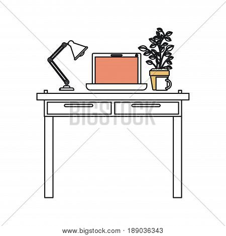 silhouette color sections of work place office interior with laptop computer and lamp and plantpot vector illustration