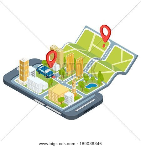 Vector illustration of the concept using the mobile application of the global positioning system. Image of a smartphone with a paper map unfolded from it with location symbols, 3D houses, cars, trees