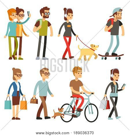 Walking people. Human persons on street in outdoor activity vector set. People woman and man, illustration of people walking and cycling