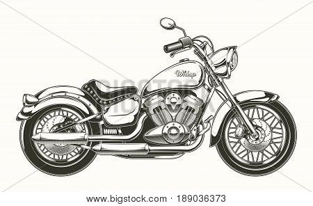 Vector illustration of hand-drawn vintage motorcycle. Classic chopper in ink style. Print, engraving, template, design element