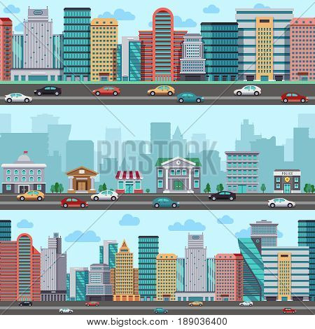 City street with cars and buildings. Vector wrapper panoramic urban design. Town street, illustration of urban building town