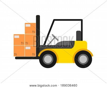 Delivery icon with warehouse forklift. Global or local shipping service vector illustration isolated on white background.