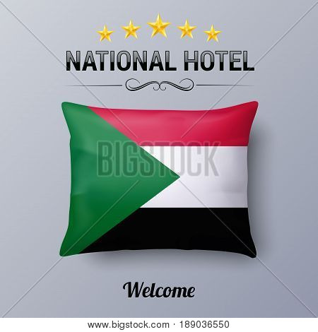 Realistic Pillow and Flag of Sudan as Symbol National Hotel. Flag Pillow Cover with Sudanese flag