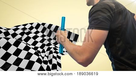 Digital composite of Relay runner mid section and flare against yellow background and checkered flag