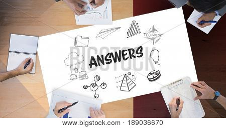 Digital composite of Answers text by icons and business people on table