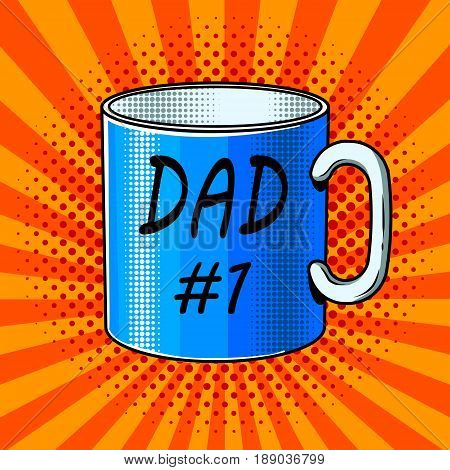 Cup with inscription comic book pop art retro style vector illustration