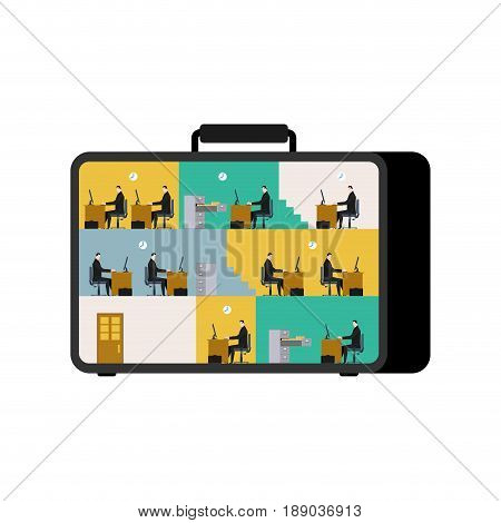 Office In Case. Mobile Workplace In Suitcase. Managers Working On Computer. Business Situation. Boss