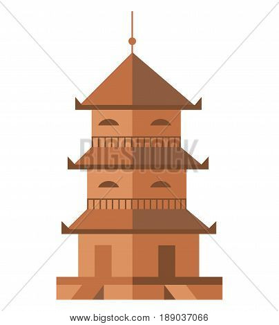 Ancient tower isolated icon. Antique architecture, medieval building, old temple, asian pagoda vector illustration.