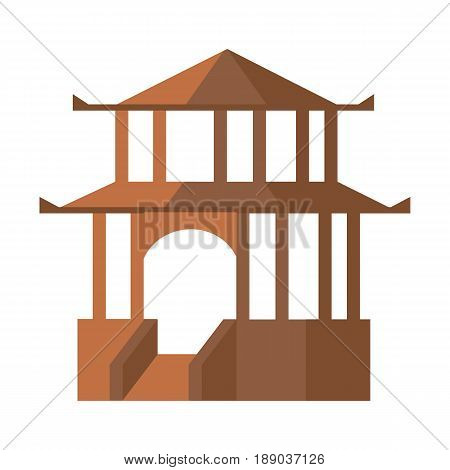 Asian pagoda isolated icon. Ancient tower, medieval building, old temple, antique architecture vector illustration.