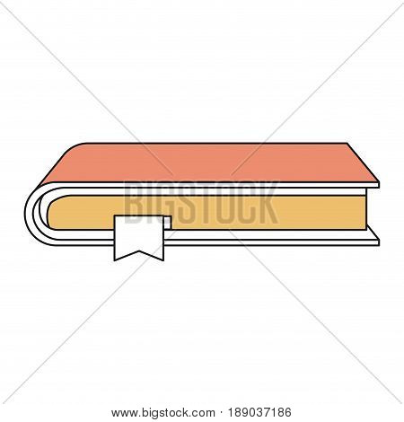 silhouette color sections of book with bookmark vector illustration