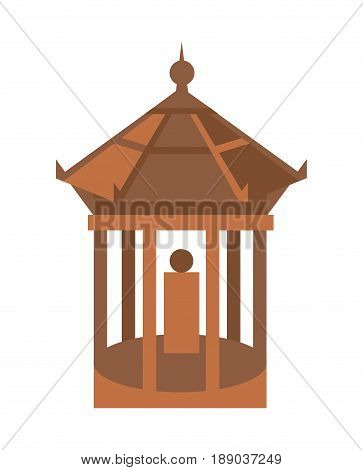 Old temple isolated icon. Ancient tower, medieval building, antique architecture, asian pagoda vector illustration.