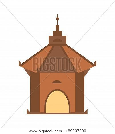 Antique architecture isolated icon. Ancient tower, medieval building, old temple, asian pagoda vector illustration.
