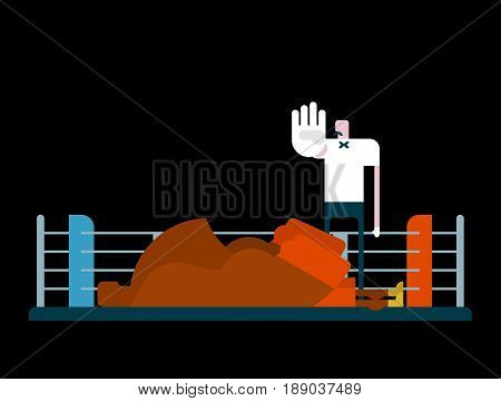 Knockout In Ring. Referee And Boxer. Arbiter Is Counting