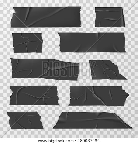 Insulating adhesive tape, duct tapes or scotch vector set. Black tape part, illustration of sticky plastic tape