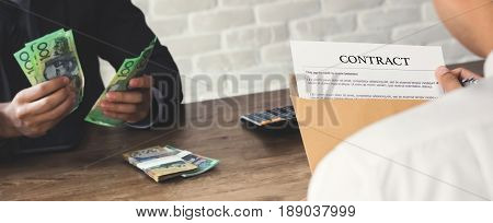 Business partner making contract - loan bribery and corruption concepts panoramic banner