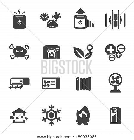 air conditioner air purifier heater icon set vector isolated on white
