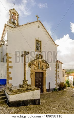 View at the Church of Holy Spirit in Portugal town Obidos