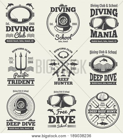 Scuba diving vintage vector labels. Spearfishing retro seal. Vintage label scuba diving, illustration emblem diving