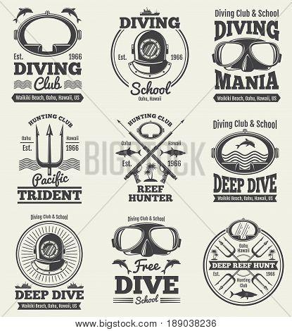 Scuba diving vintage vector labels. Spearfishing retro seal. Vintage label scuba diving, illustration emblem diving
