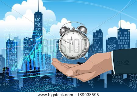 Time Management Concept : Business man holding alarm clock in hand.