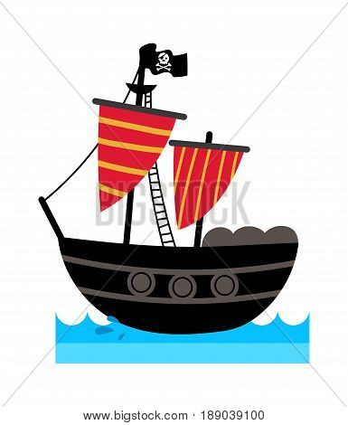 Pirate icon with ship. Children drawing of pirate accessories vector illustration isolated on white background.