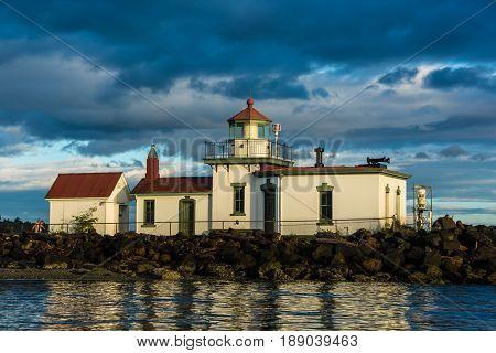 Lighthouse marking the entrance to Seattle's Elliott Bay