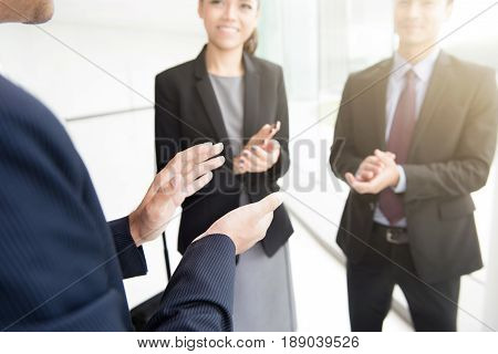 Business people clapping their hands congratulation and appreciation concepts